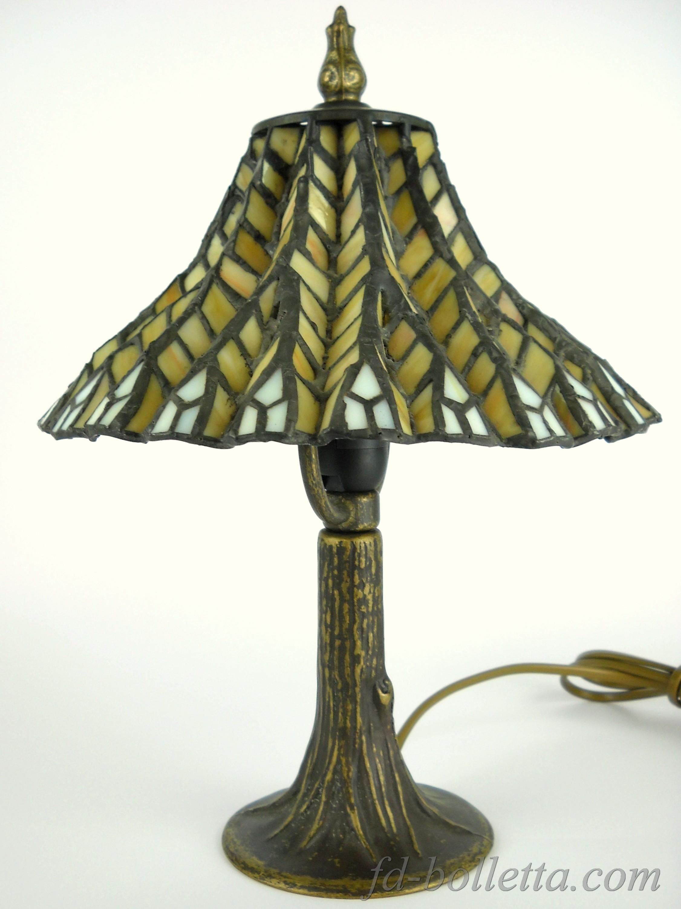 Lampada tavolo ottone brunito stile tiffany da scrivania - Lampade tiffany da tavolo ...