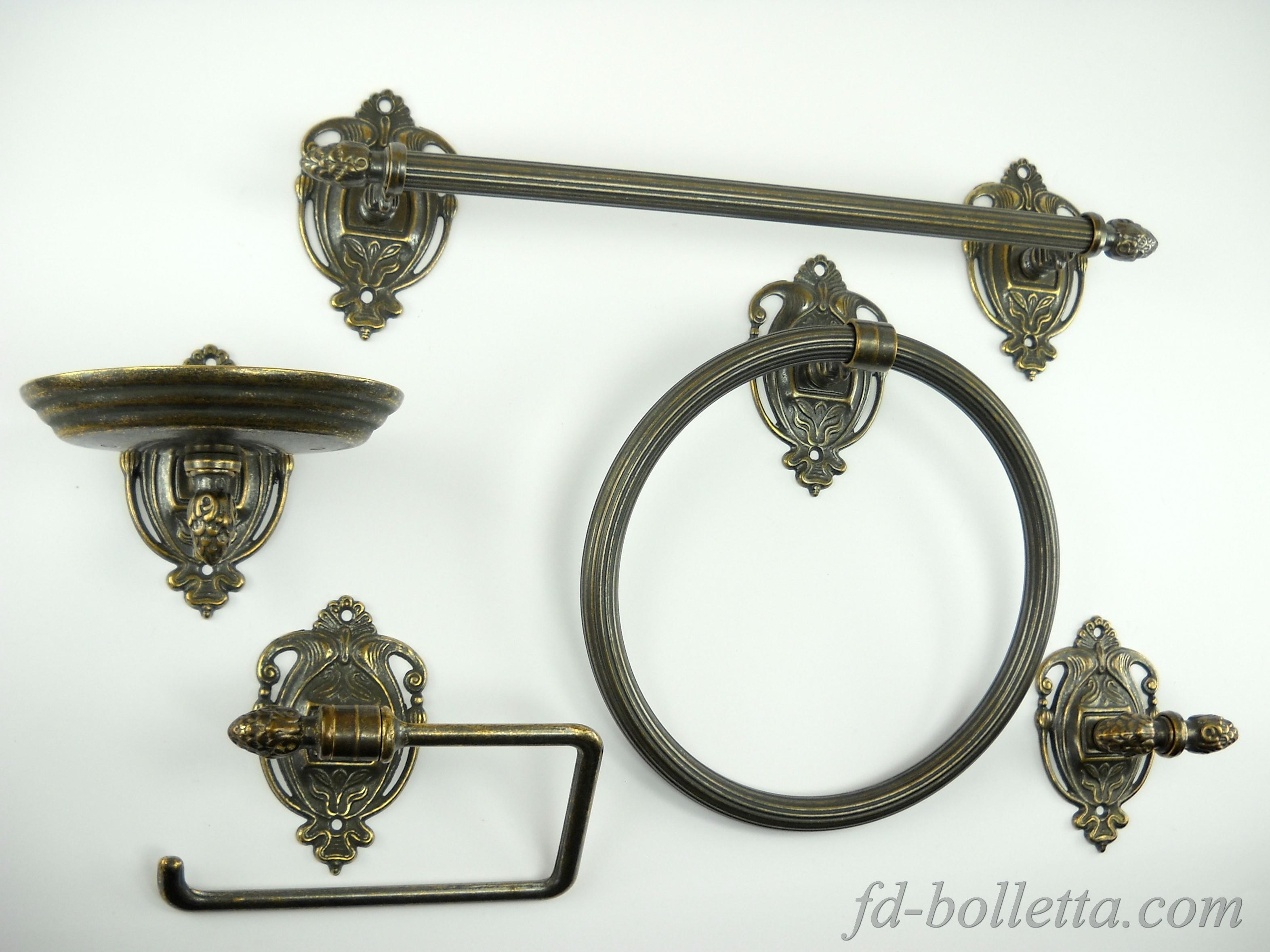 Set da bagno ottone brunito in stile impero kit accessori - Accessori bagno ottone bronzato ...