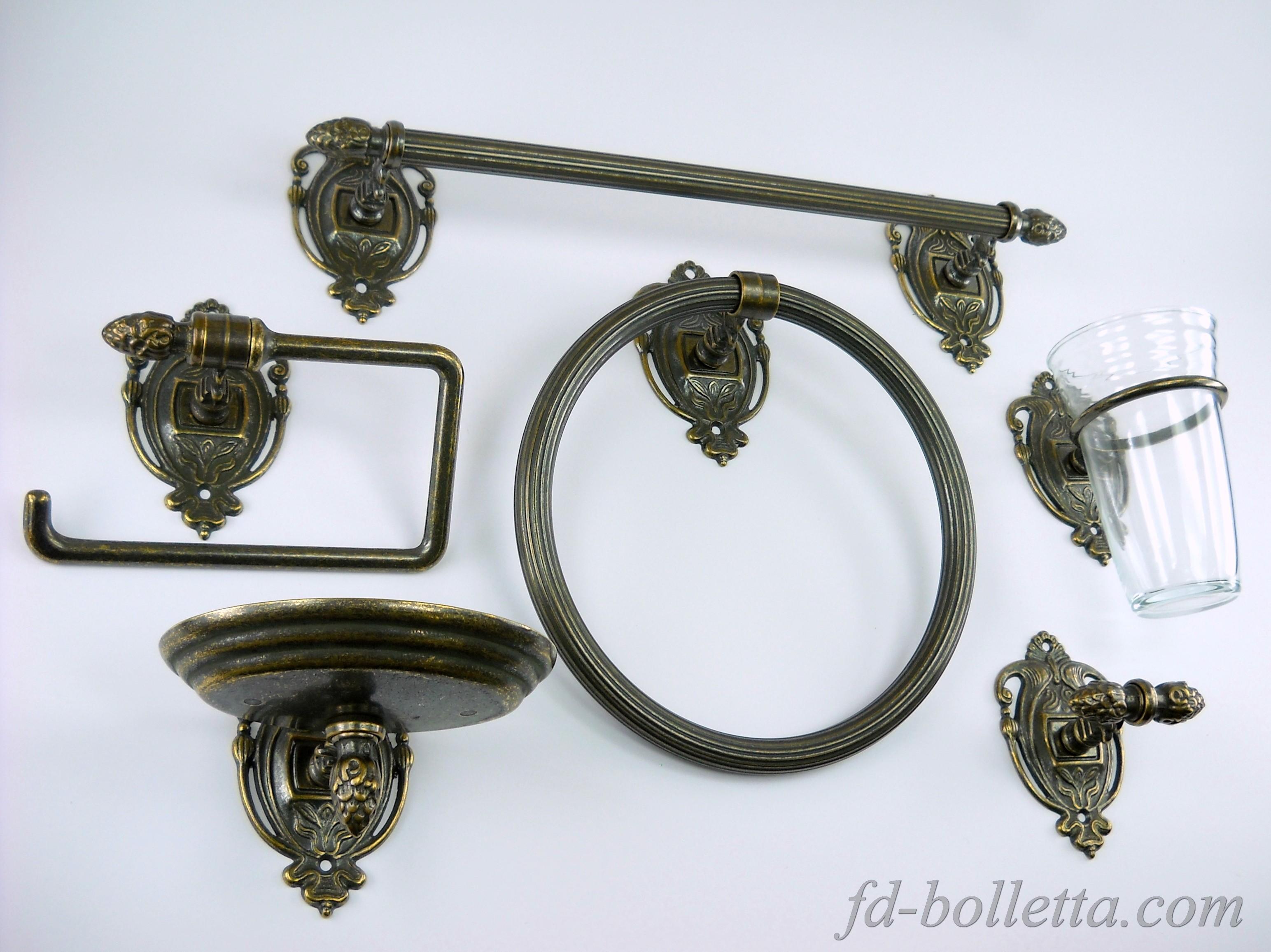 Accessori Bagno Ottone Anticato.Set Da Bagno In Ottone 6 Pz Wc25 Fd Bolletta Lampade
