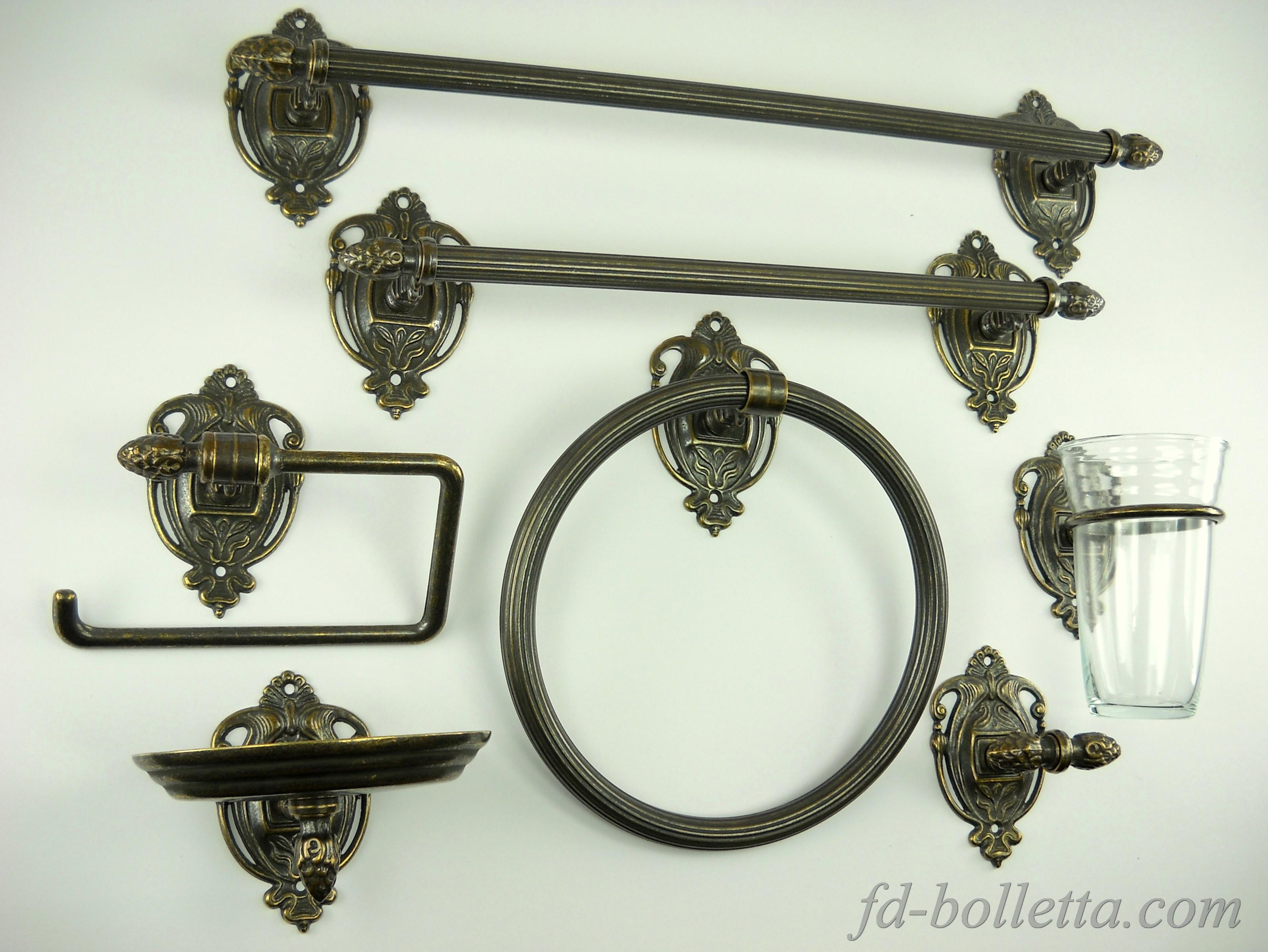 Set da bagno in ottone 7 pz wc23 fd bolletta lampade - Accessori bagno in ottone ...