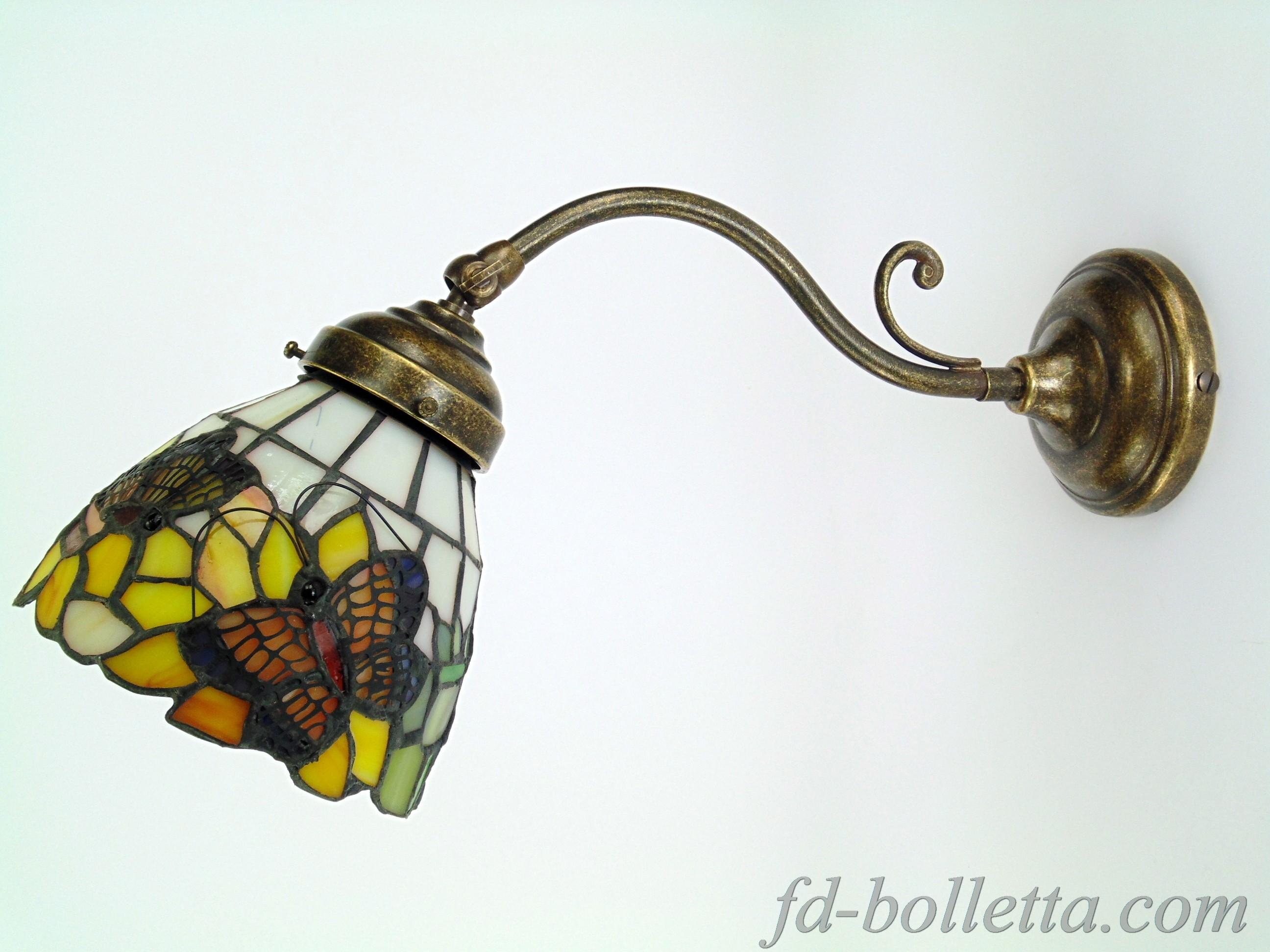 Lampade Ottone E Vetro : Applique ottone brunito stile liberty ad una ...