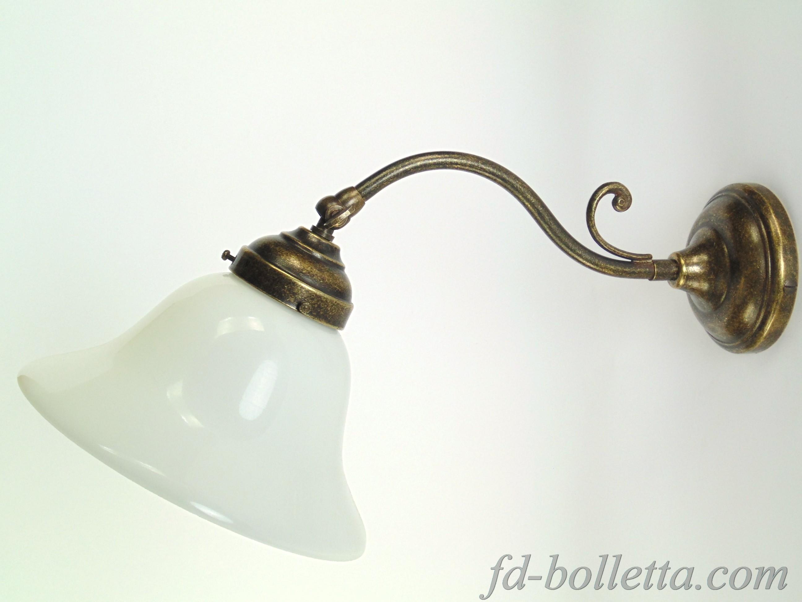Applique ottone e vetro am fd bolletta lampade