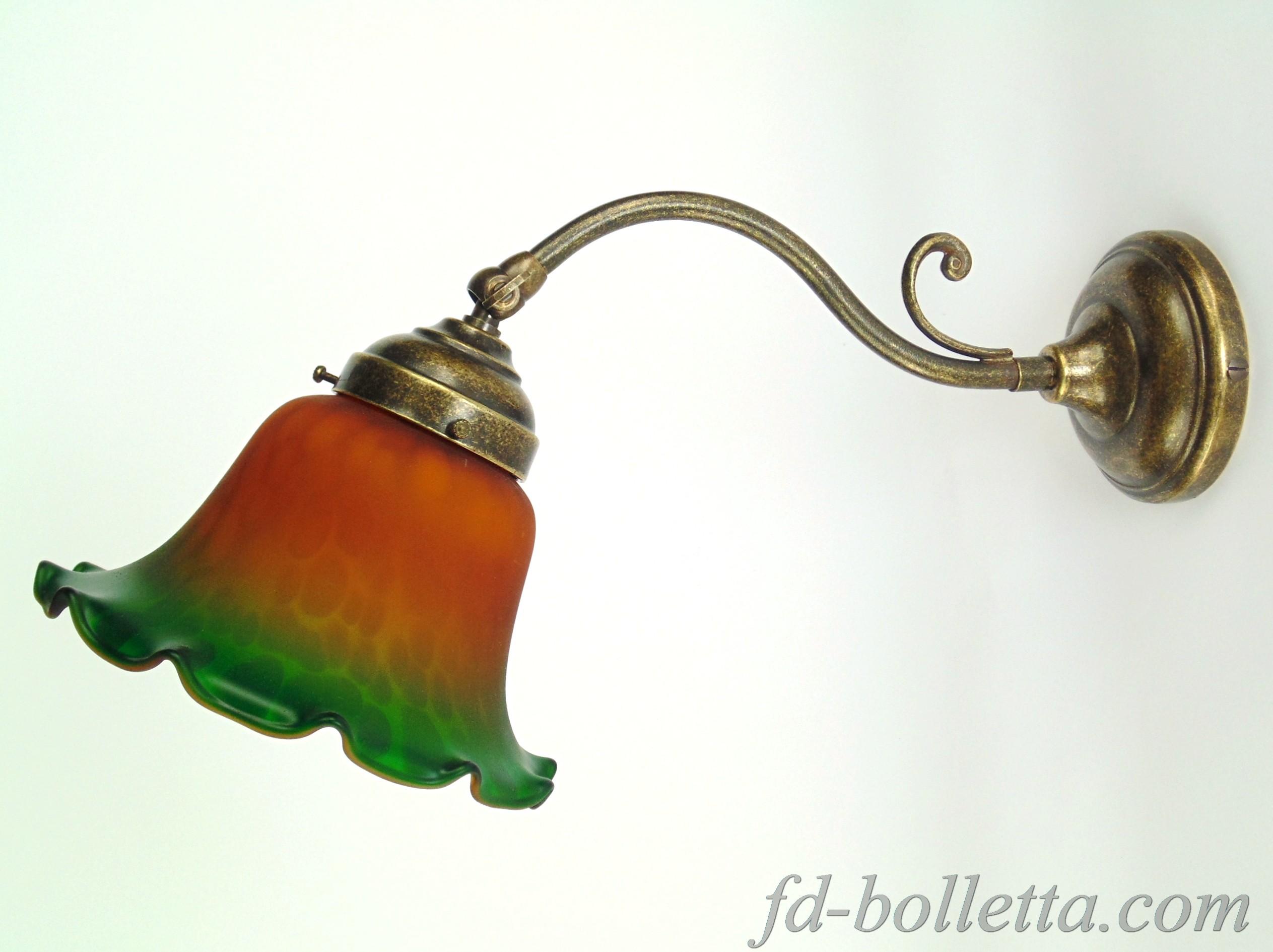 Applique ottone e vetro am24 fd bolletta lampade