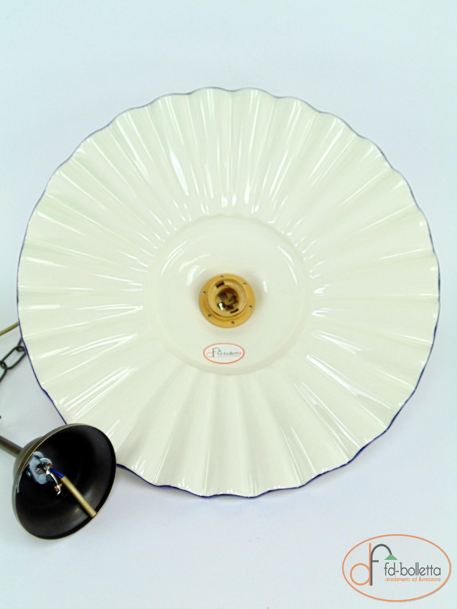 Lampadario ottone brunito sospensione a catenella piatto ceramica ...