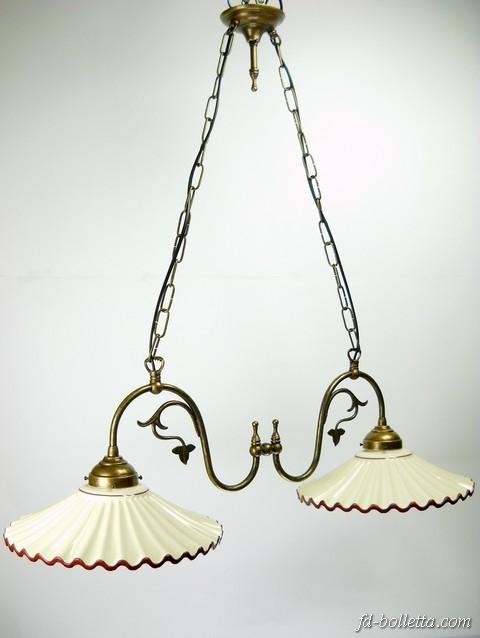 Lampadario a due luci in ottone invecchiato stile liberty,