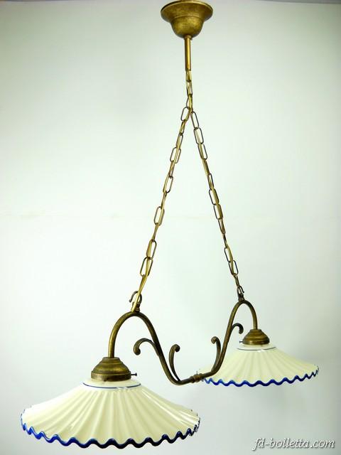 altezza lampadario : Lampadario ottone brunito liberty sospensione due luci,piatti ceramica ...