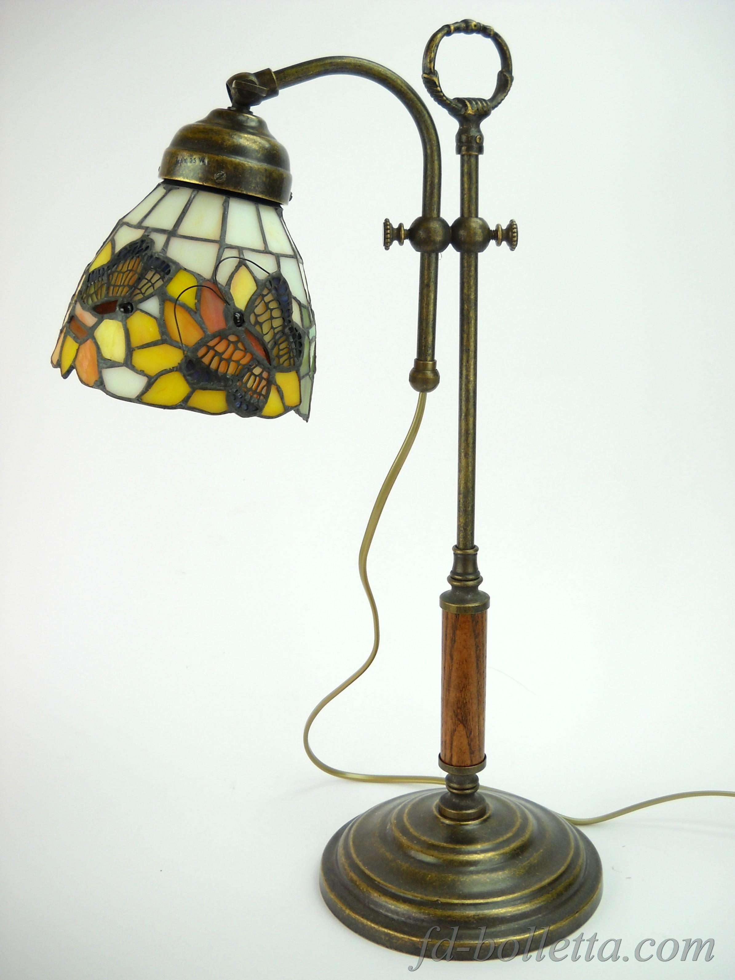 Lampada ottone brunito da tavolo scrivania lampade con for Lampade piccole da tavolo