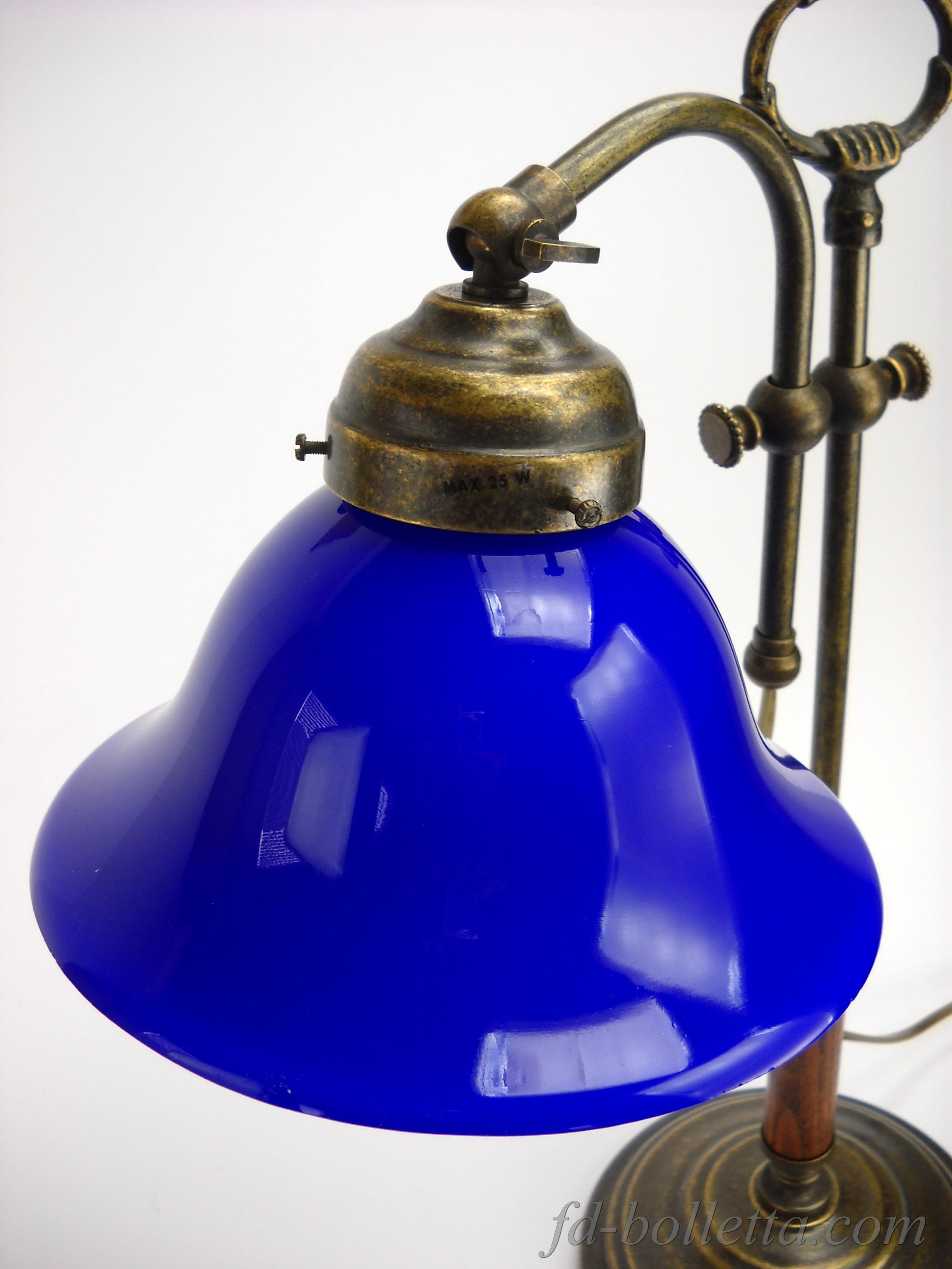 Lampada ottone brunito da tavolo scrivania lampade stile for Lampade piccole da tavolo