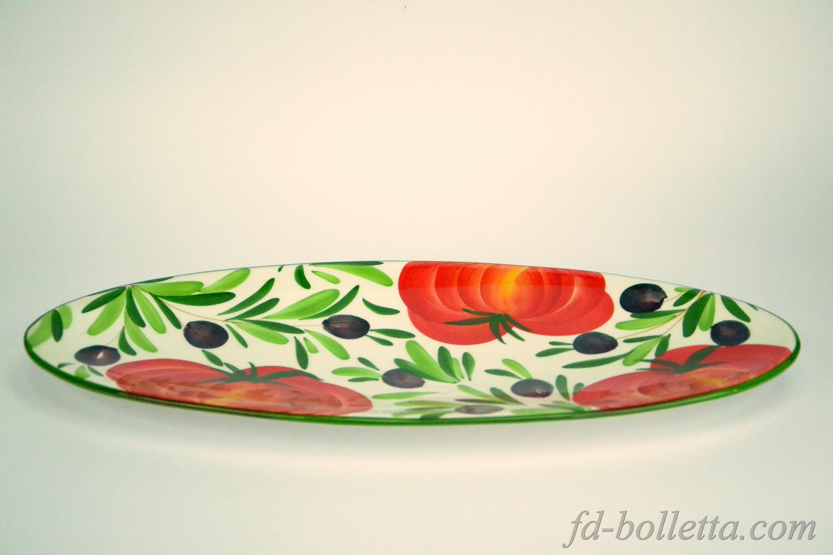 Piatto ceramica ovale pitturato con decori,oggetti ceramica,piatti ...