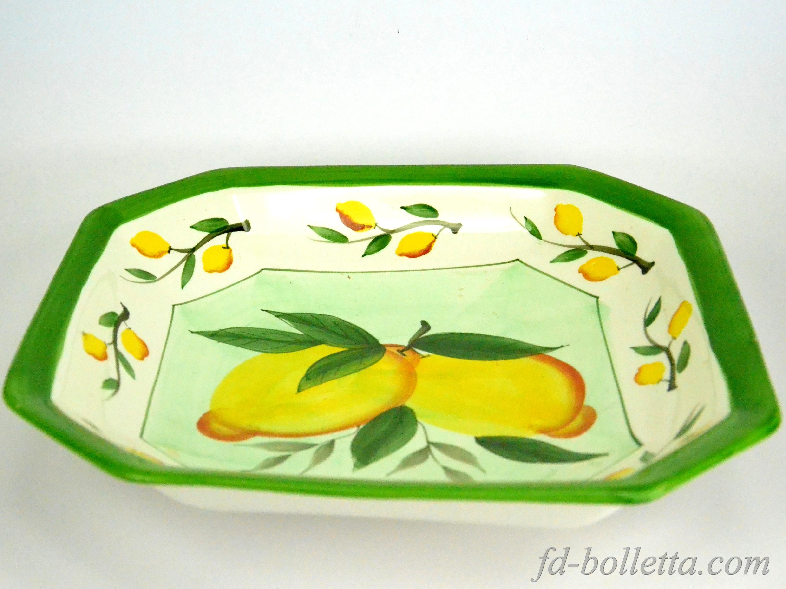 Porta frutta in ceramica centro tavola pitturato a mano decorazioni limoni a458 ebay - Centro tavola con frutta ...